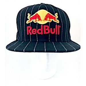 Red Bull Baseball Cap Black Wool Stripes Fitted